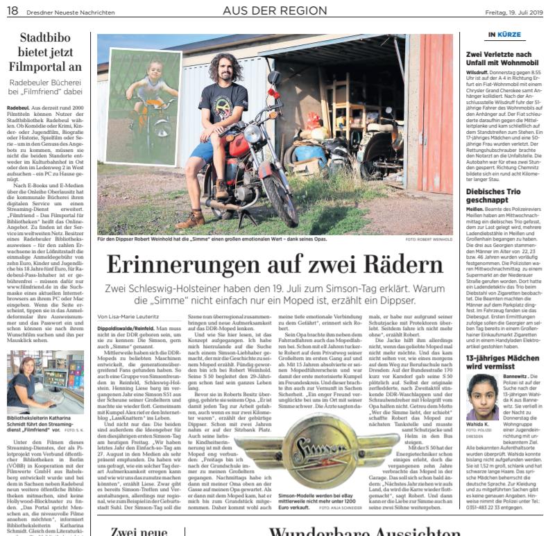 Zeitungsartikel der Dresdner neuen Nachrichten