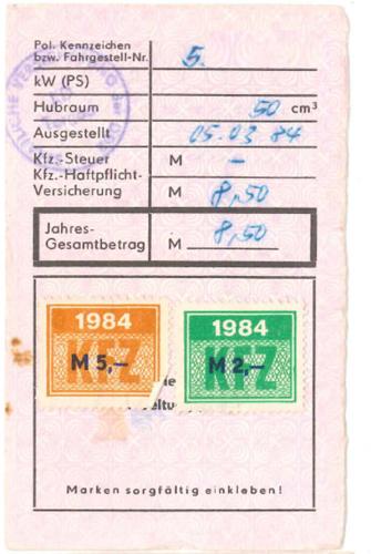 Original Haftpflichtpapiere Simson S51